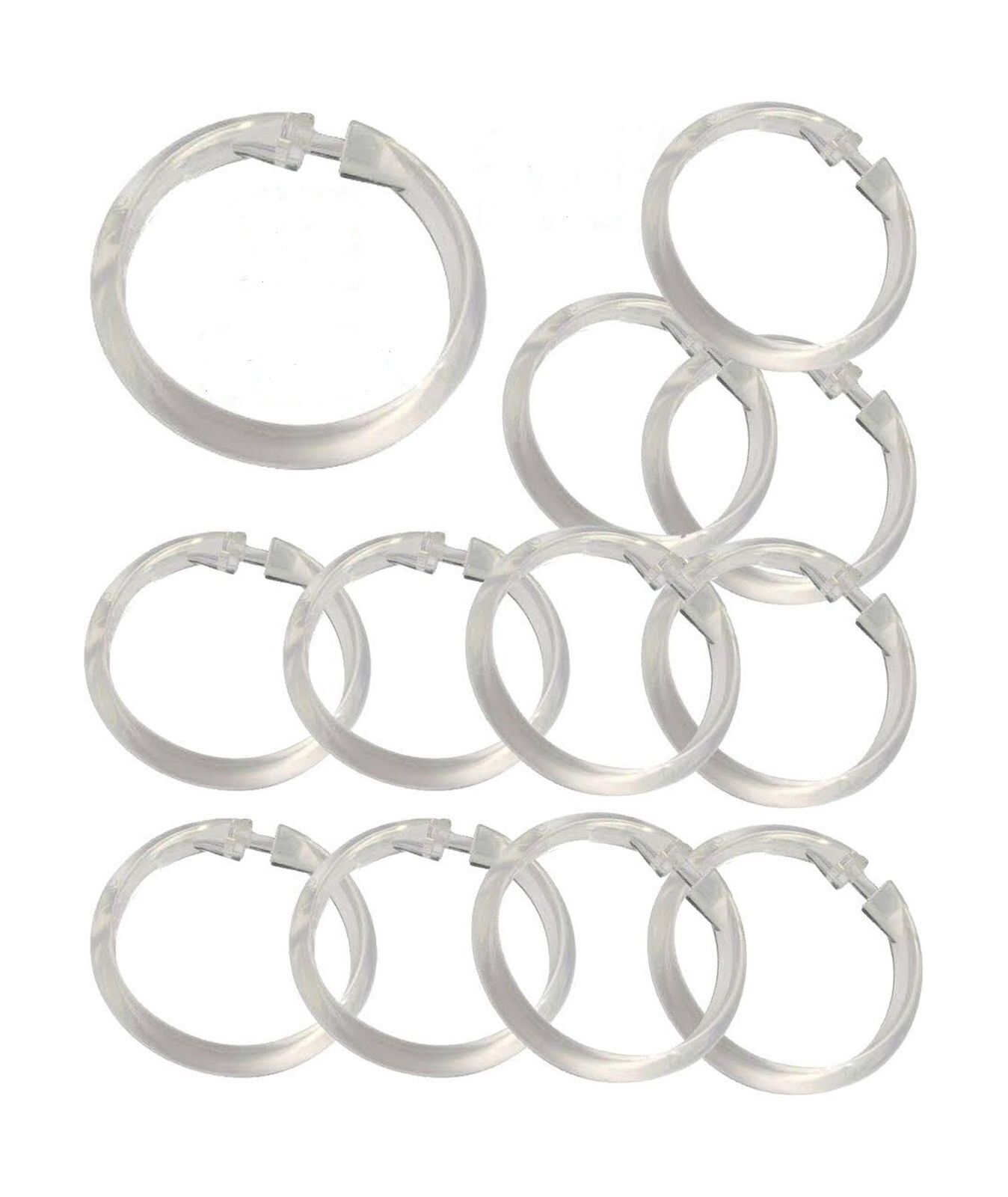 Set Of 12 Easy To Use Plastic Snap On Shower Curtain Rings Hooks All Colors