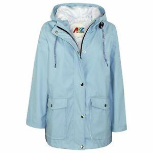 Kids Girls Boys PU Raincoat Jacket Navy Hooded Waterproof Rain Mac Cagoule 5-13Y