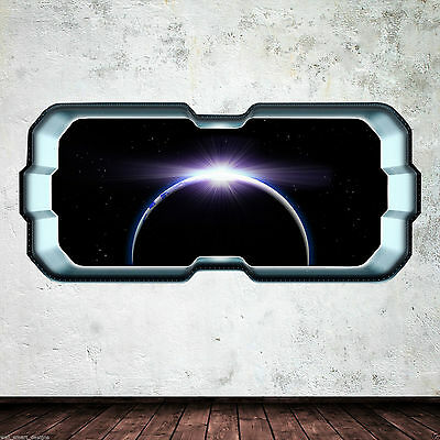 Space ship Window Earth Eclipse Colour Wall Art Sticker Decal Bedroom WSD296