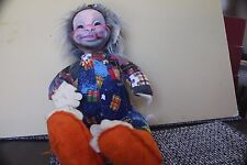 "RUSHTON COMPANY STUFFED VINTAGE CLOWN DOLL 23"" CIRCUS AS IS HOBO MALE STAR CREAT"