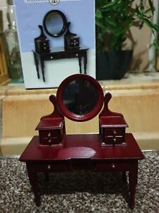 Dollhouse-Furniture-Mahogany-Dressing-Table-with-Mirror-1-12-scale