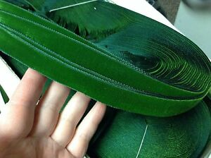 "10 Yards Green 5/8"" Vintage FRENCH VELVET Ribbon Rayon Made in France"