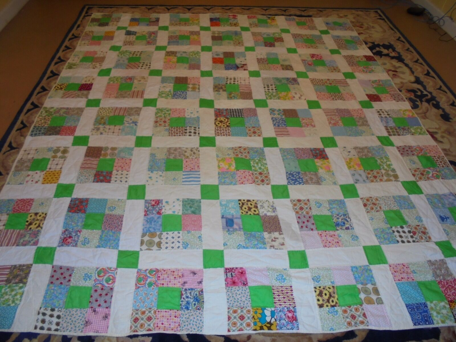 Cute Nine Piece Granny Square Pattern Quilt