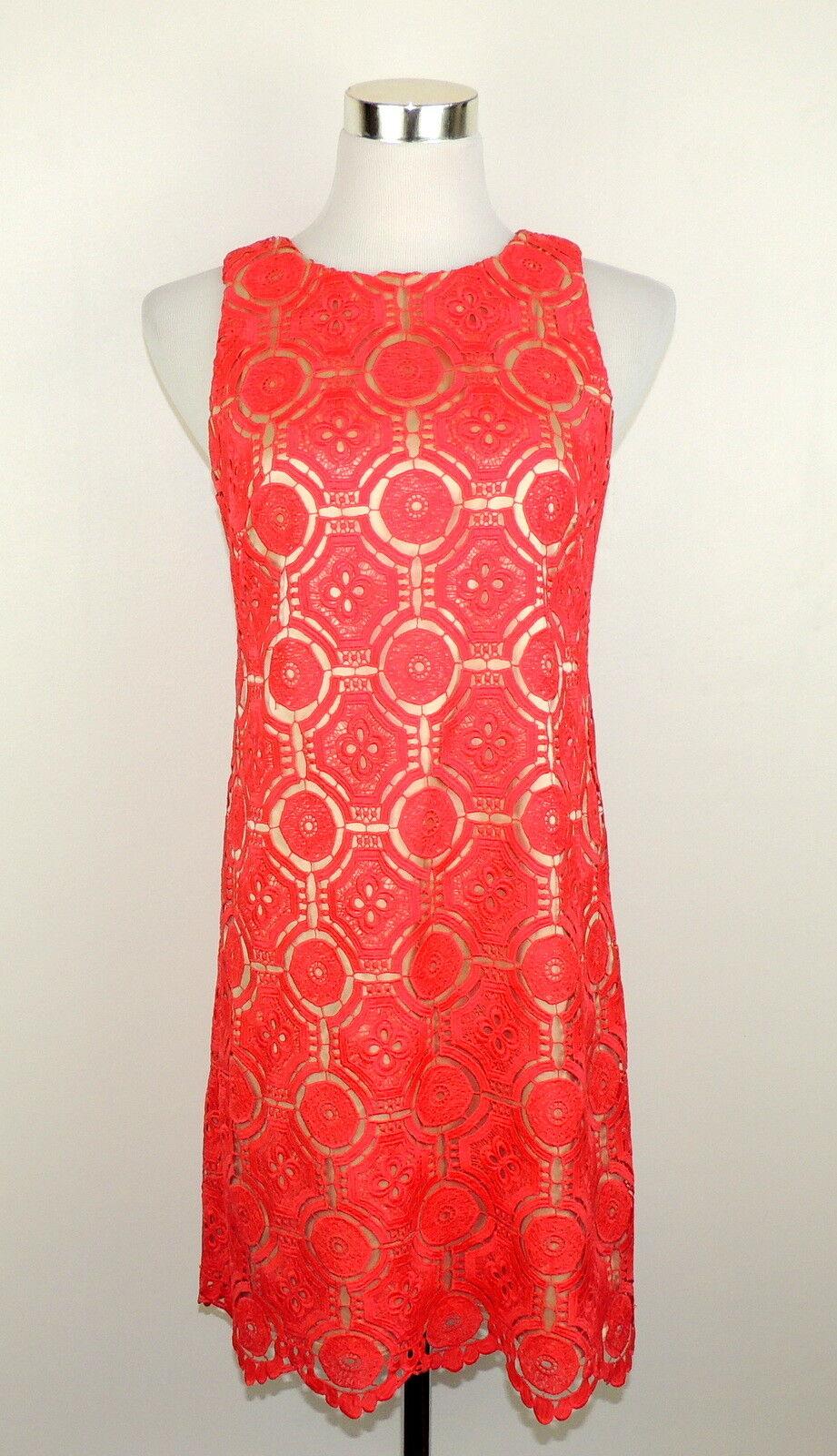 Eliza J Womens Womens Womens 2 Dress Romantic orange Crochet Lace Over Satin Beige Liner c2ab15
