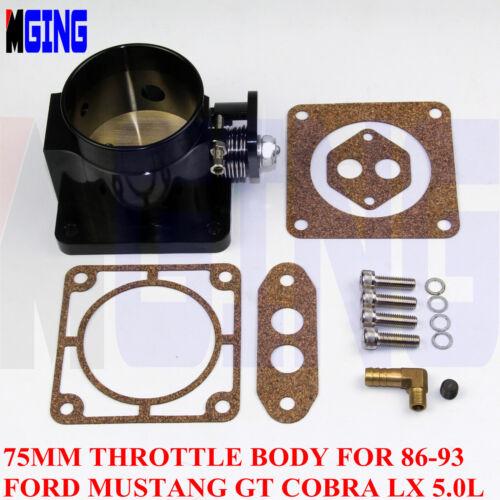 Billet 75mm High Flow Throttle Body For 86-93 Ford Mustang GT Cobra LX 5.0L BLL