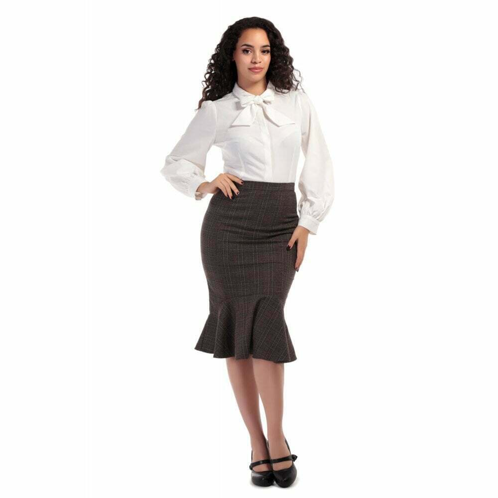 Collectif Vintage Winifred Librarian Check Fishtail Skirt