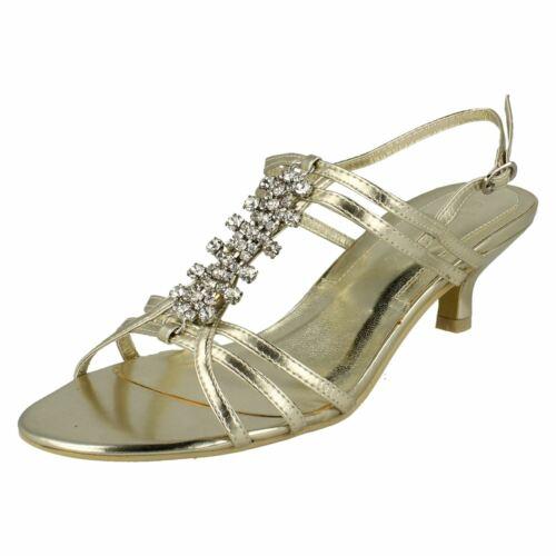 Ladies Spot On Mid Heel Diamante Trim /'Ankle Strap Sandals/'
