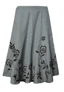 B05-White-Stuff-size-12-16-Navy-Grey-Brown-Striped-A-line-Embroidered-Skirt