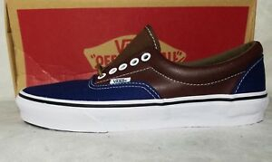 6d8f2b0d0c New Vans Era Leather Plaid Estate Blue Brown Potting Soil Canvas ...
