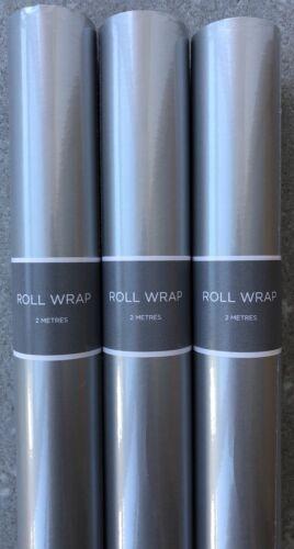 6 M Hallmark Silver Papier Cadeau Rouleaux 3 x 2 mètres Rolls-dur tube postal