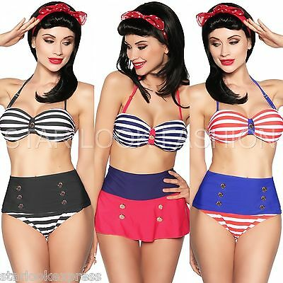 Vintage Push-Up Bikini 50 Jahre Rockabilly Pin-Up Retro Marine-Bikini Bandeau