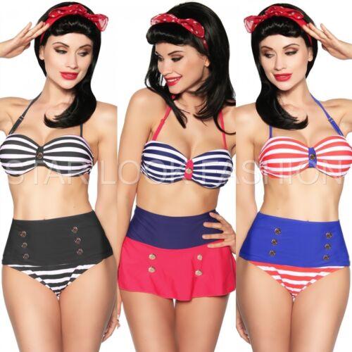 Vintage Push-Up Bikini 50 Jahre Rockabilly Pin-Up Retro Marine-Bikini Bandeau