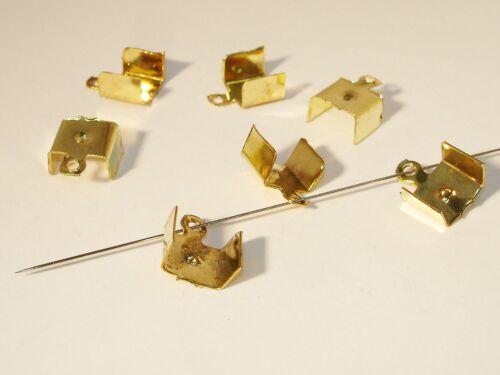 11x8mm 6 Stück #Z126 Klemmbleche Verbinder groß Gold