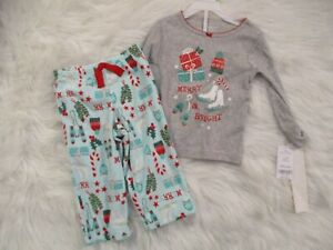 Carter-039-s-Baby-Toddler-Girls-2-Piece-Christmas-Pajamas-Set-18-Mo-Knit-Top-Fleece