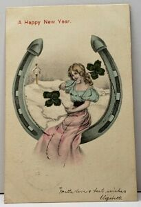 New-Year-Pretty-Lady-Horseshoe-w-4-Leaf-Clovers-Hand-Colored-1906-Postcard-A6