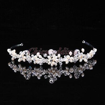 Princess Austrian Bridal Crystal Tiara Crown Headband Veil Hair Accessory Silver