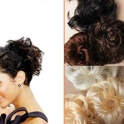 Hair Bun Messy Fake Extensions Styling Cover Scrunchies Elastic Bobbles Wavy Wig