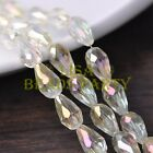 New 20pcs 16X10mm Faceted Teardrop Crystal Glass Spacer Loose Beads Yellow