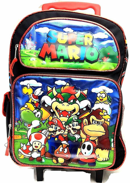 Super Mario Luigi School 16 Inches Rolling Backpack Brand New Licensed Product