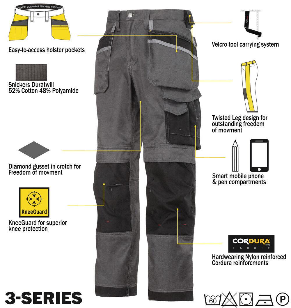 Snickers 3-series pantaloni 3212 3-series Snickers da lavoro DIRETTO GRIGIO-NERO 054f8a
