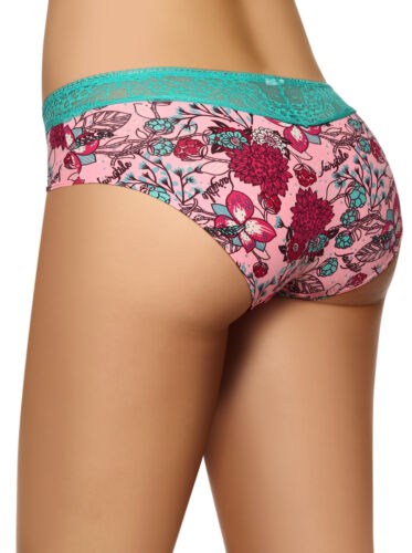 Laura Women/'s Boyshort See Through Lace Sides and Back Printed Fabric S M L