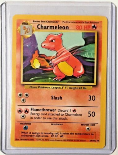 CHARMELEON 24//102 Vintage ENGLISH Base Set Pokemon EXCEL//N MINT CONDITION Card