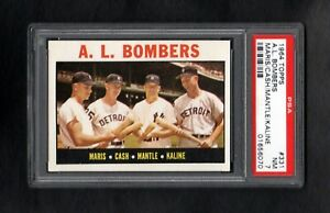 1964-TOPPS-331-AL-BOMBERS-MARIS-CASH-MANTLE-KALINE-PSA-7-NM-SHARP-CARD