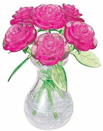 30897 Quebra-cabeça 3D Cristal-Rosas Em Vaso-Novo em folha