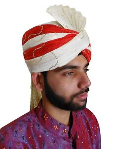 Men Hat Pagri Indian Wedding Safa Groom Turban Top Hat New Silk ... c1c4b6ce1