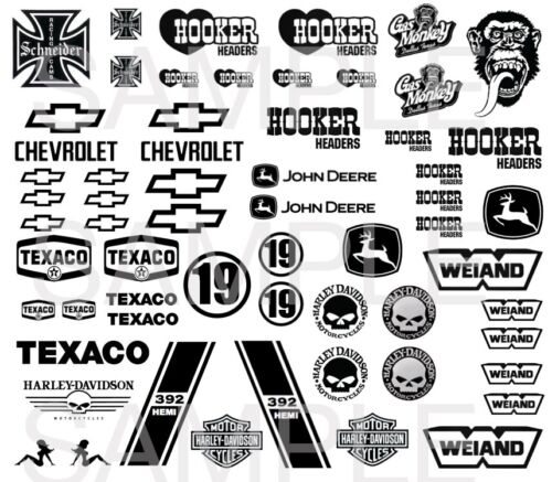 1:64  Black /& White Favourites #3 WATER-SLIDE DECALS FOR HOT WHEELS
