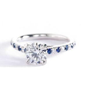 CT-de-1-45ct-SI2-G-Corte-Redondo-Zafiro-Azul-y-Diamante-Anillo-De-Compromiso-en