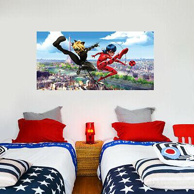 Ladybug Cat Noir Paris Broken Wall Sticker Mural Art Kid Miraculous Wall Decal