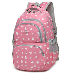 Cute School Bag Girls Backpack Children Women Travel Backpack Paw Printing  Pink d16c55236d312