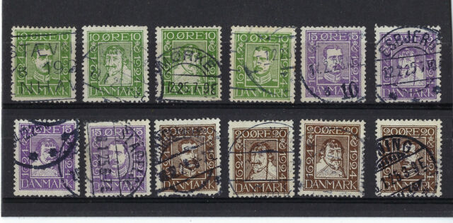 DENMARK 164 - 175 used 1924 set, Catalog value $93.00