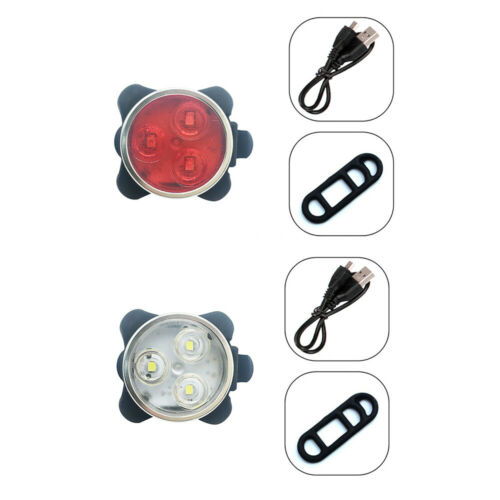 Rechargeable USB LED Bright Bicycle Front and Back Headlight Set Waterproof Set