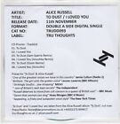 (EP678) Alice Russell, To Dust / I Loved You - 2013 DJ CD