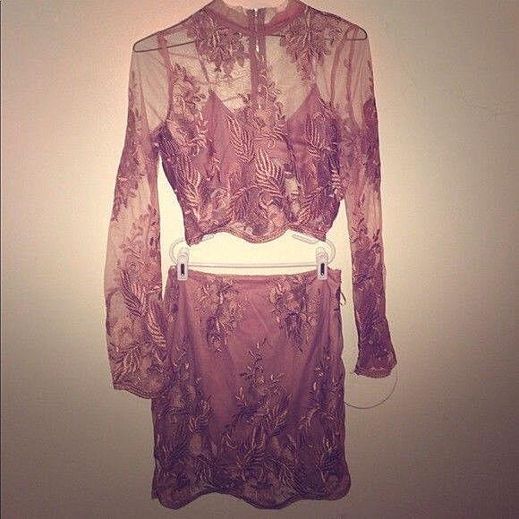 Mauve Pink Floral Applique Sheer Mesh Lace Two Piece Set Crop Top Skirt Dress S