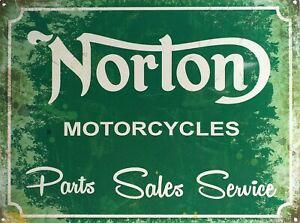 PLAQUE-METAL-vintage-moto-NORTON-MOTORCYCLES-40-x-30-cm