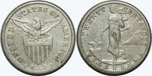 1913-S-US-Philippines-20-Centavos-F-VF-Details-A-11-09-75-Silver-MX365