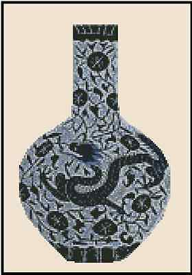 Oriental Blue Vase with Dragon Counted Cross Stitch Chart No.25-104