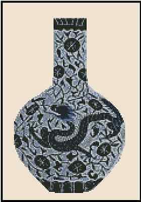Cross Stitch Chart ORIENTAL BLUE VASE WITH DRAGON 2 - No.25-104 (Large Print)