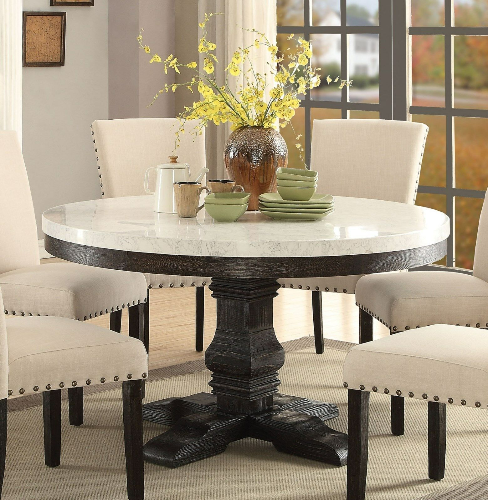 7PC LUCIA WHITE MARBLE TOP WEATHERED BLACK WOOD ROUND PEDESTAL DINING TABLE  SET