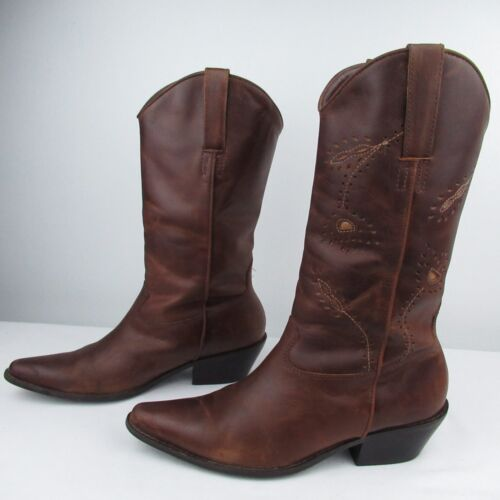 Leather Boots Western Cowboy Tan Brown Brazil size 10