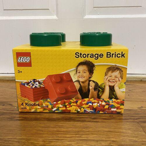 Lego 4003 Large Storage Brick 4 Knobs Stackable Storage Box Green New!