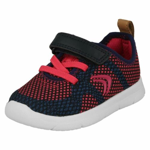 BOYS GIRLS CLARKS ATH FLUX TODDLER HOOK /& LOOP INFANT TRAINERS LACES SHOES SIZE