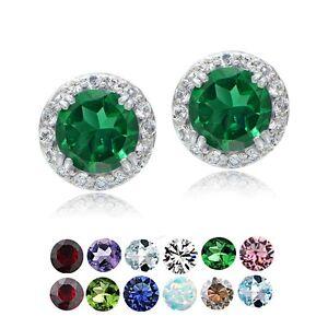 Sterling-Silver-Birthstone-Halo-Stud-Earrings