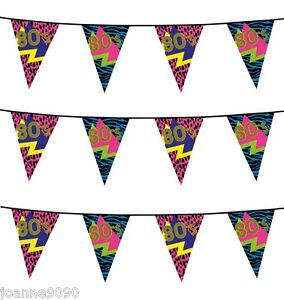 6m-80s-Partyware-Retro-Reflex-Neon-Birthday-Party-Flag-Bunting-Decoration-Banner