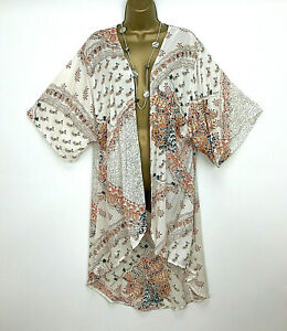M-amp-Co-Kaftan-Kimono-Jacket-UK-Size-14-Cream-Orange-Beach-Womens-Summer-Holiday