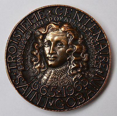 FleißIg Medaille Bronze Troisieme Centenaire Saint Gobain 1665-1965 Jubiläum 300 Jahre
