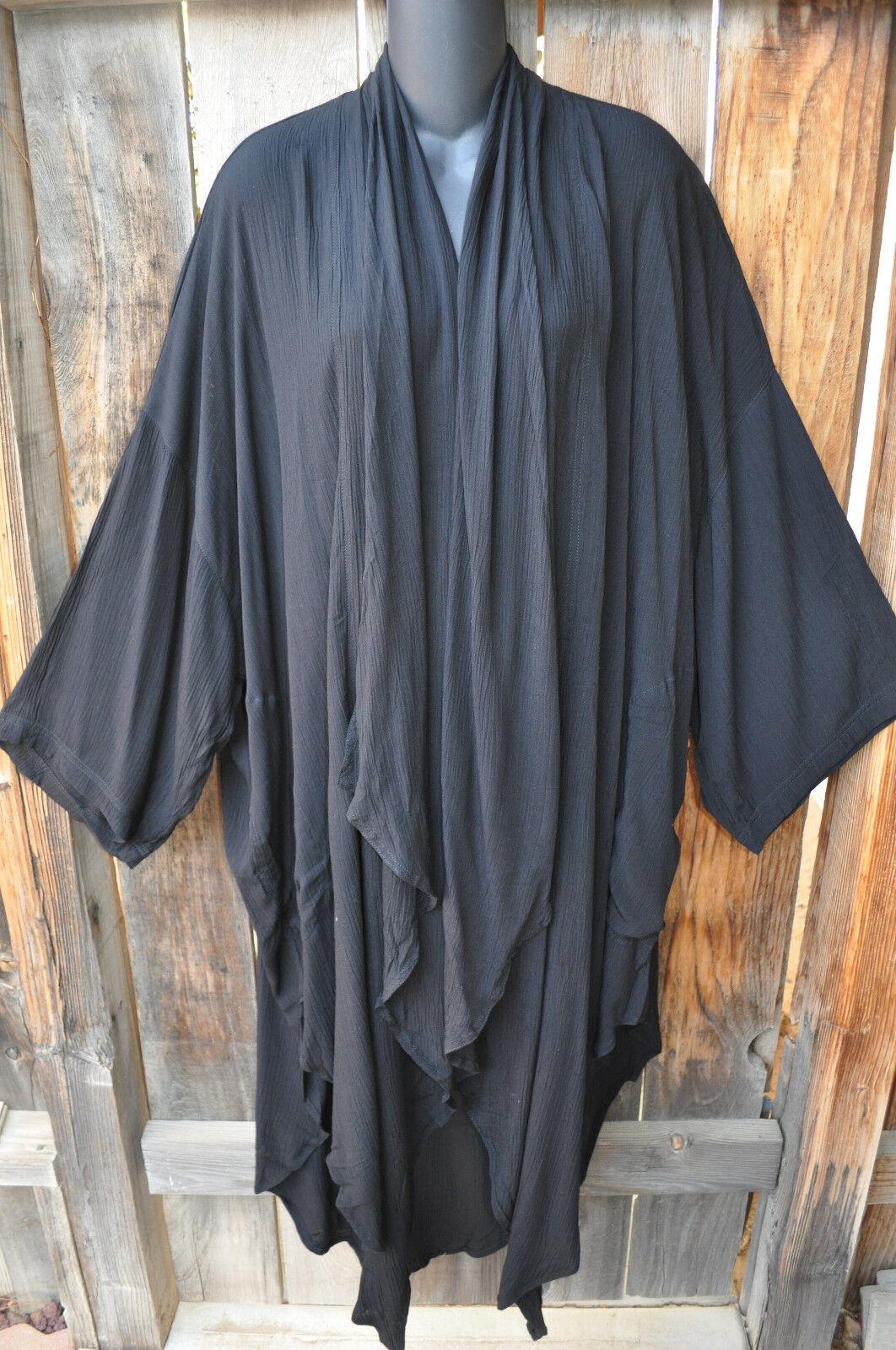 Mission Canyon Art à porter 50 Long Kimono Duster en Classique Solide Noir, Taille unique +